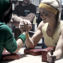 Lysandra wins the Arm Wrestle